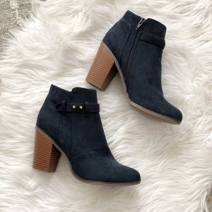 Worn Once MERONA Navy Blue Faux Suede Booties, 9.5